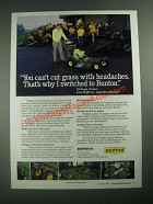 1987 Bunton mowers Ad - You Can't Cut Grass With Headaches