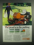 1987 Textron Jacobsen Greens King IV Diesel Mower Ad - Proof Is In The Putting