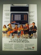 1987 Texas Instruments Speak & Math Ad - It Can Help Their Grades