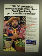 1987 Ziploc Freezer Bags Ad - Dom DeLuise - Protects All My Veggies