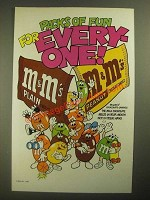 1987 M&M's Candies Ad - Packs of Fun for Everyone - Sports