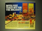 1987 Royal Oak Charcoal Briquets Ad - Takes Off For the Holidays