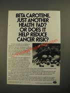 1987 Roche Beta Carotene Ad - Just Another Health Fad?