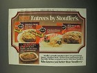 1987 Stouffer's Entrees Ad - Salisbury Steak, Chicken Divan and Beef Short Rib