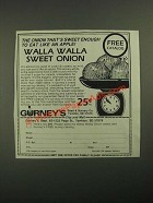 1987 Gurney's Walla Walla Sweet Onion Ad - Eat Like an Apple