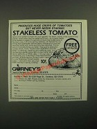 1987 Gurney's Stakeless Tomato Ad - Huge Crops of Tomatoes