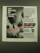 1987 First Investors Ad - Has the Right Formula