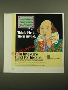 1987 First Investors Fund for Income Ad - Think First Then Invest