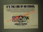 1987 Liquid Paper Ad - It's the End of An Error