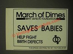 1987 March of Dimes Ad - Saves Babies