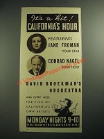 1936 California's Hour Radio Program Ad - Jane Froman, Conrad Nagel