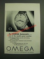 1949 Omega Automatic Watch Ad - One Of The World's Great Watches