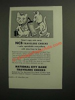 1953 National City Bank travelers checks Ad - Smart Copy Cats