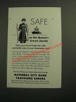 1953 National City Bank travelers checks Ad - Safe as Queen's Crown Jewels