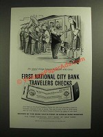 1958 National City Bank Travelers Checks Ad - Cartoon by William Steig
