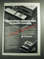 1973 Hitachi TRQ-340 Cassette Recorder Ad - Brings Automatic Shift