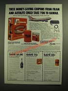 1985 Allied Automotive Fram Filters and Autolite Sparkplugs Ad