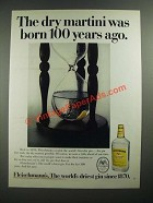 1970 Fleischmann's Gin Ad - The Dry Martini Was Born 100 Years Ago