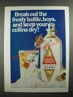 1970 Gilbey's Gin Ad - Keep Your Collins Dry!