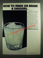 1970 The Rums of Puerto Rico Ad - Make or Break A Daiquiri