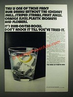 1971 The Rums of Puerto Rico Ad - This is One of those Fancy Rum Drinks