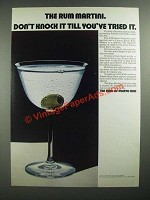 1971 The Rums of Puerto Rico Ad - The Rum Martini