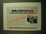 1955 Carl Zeiss Contaflex Camera Ad - Compare