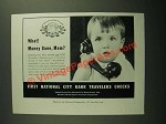 1957 First National City Bank Travelers Checks Ad - Money Gone, Mom?