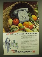 1960 GT&E General Telephone & Electronics Ad - Harvesting Friends