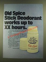 1977 Old Spice Stick Deodorant Ad - Works Up to XX hours