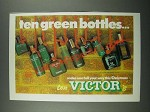 1980 Victor Toiletries Ad - Ten Green Bottles