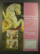 1988 United States Postal Service Stamps Ad - An Endangered Species