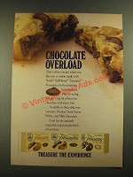 1988 Nestle Toll House Treasures Ad - Chocolate Overload
