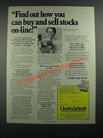 1988 Charles Schwab Ad - Find Out How You Can Buy and Sell Stocks On-Line