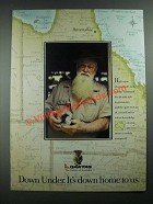 1988 Qantas Airline Ad - Down Under It's Down Home to Us