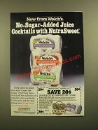 1988 Welch's No-Sugar-Added Juice Cocktails Ad
