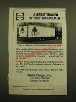 1988 Wells Cargo Trailers Ad - A Great Trailer for Turf Management