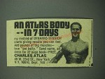 1976 Charles Atlas Dynamic-Tension Book Ad - An Atlas Body in 7 Days