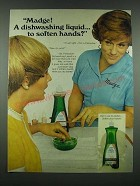 1970 Palmolive Diswashing Liquid Ad - Madge! Soften Hands?