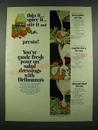 1970 Hellmann's Mayonnaise Ad - Dressing Recipes: Green Goddess +