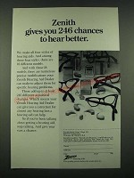 1970 Zenith Hearing Aids Ad - 246 Chances to Hear Better