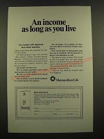 1969 Metropolitan Life Insurance Ad - An Income as Long as You Live