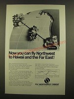 1969 Northwest Orient Airline Ad - Fly to Hawaii and the Far East