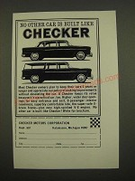 1967 Checker Cars Ad - No Other Car is Built Like Checker