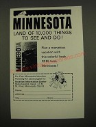 1967 Minnesota Tourism Ad - Land of 10,000 Things to See and Do!