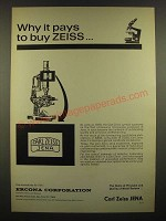 1966 Carl Zeiss Jena Microscope Ad - Why it Pays to Buy Zeiss