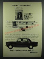 1966 Peugeot Car Ad - What Are Peugeots Made Of?