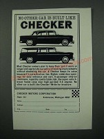 1966 Checker Cars Ad - No Other Car is Built Like