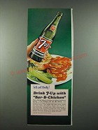 1965 7up Soda Ad - Drink 7-up with Bar-B-Chicken