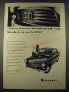 1965 Peugeot Car Ad - One of the Seven Best Made Cars in the World